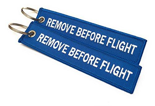 Remove Before Flight Llavero | Etiqueta de Equipaje | Conjunto de 2 | Azul/Blanco | Aviamart®