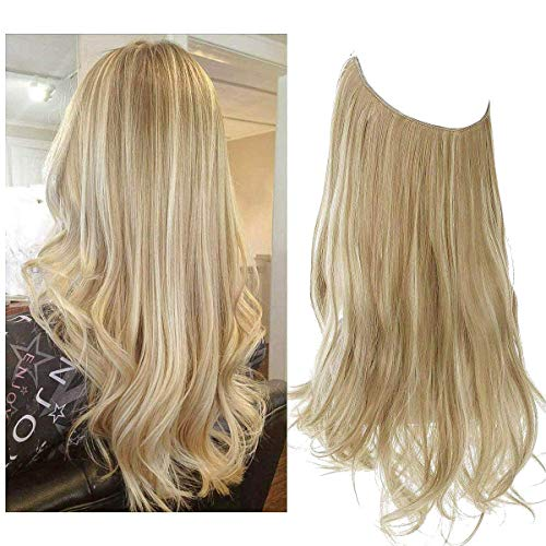SARLA Dirty Blonde Hair Extension Halo Wavy Curly Long Synthetic Hairpieces for Women 18 Inch 4.2 Oz Adjustable Size Headband Transparent Wire Heat Friendly Fiber No Clip (M01&16H613)