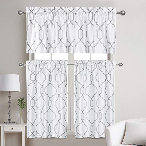 Home Basics Avondale Collection 56x36 3-Piece Window Curtains | Valance & Two Panels | Made of 100% Polyester | Elegant Faux Silk Embroidered Design (White/Gray)