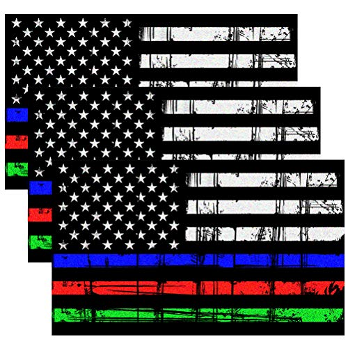 Creatrill Reflective Tattered Thin Blue Red Green Line Decal Matte Black