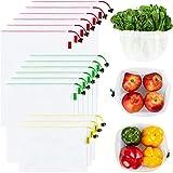 Juego de 15 bolsas de malla reutilizables, ecológicas, lavables y transparentes, con etiquetas de peso de tara, 3 tamaños