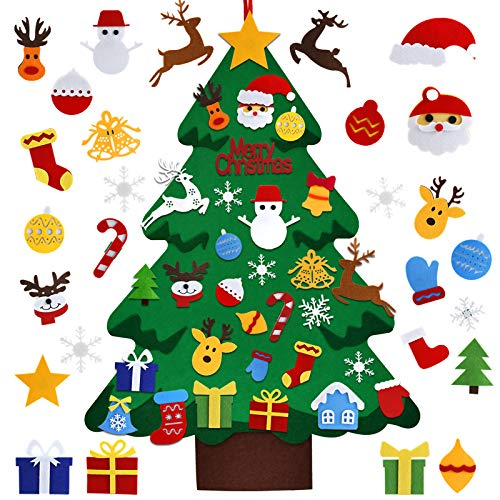 iKALULA Árbol de Navidad de fieltro con 37 piezas de adornos, 1 m árbol de Navidad 3D DIY para niños pequeños niños, colgar en la pared, Navidad, Año Nuevo, suministros de...