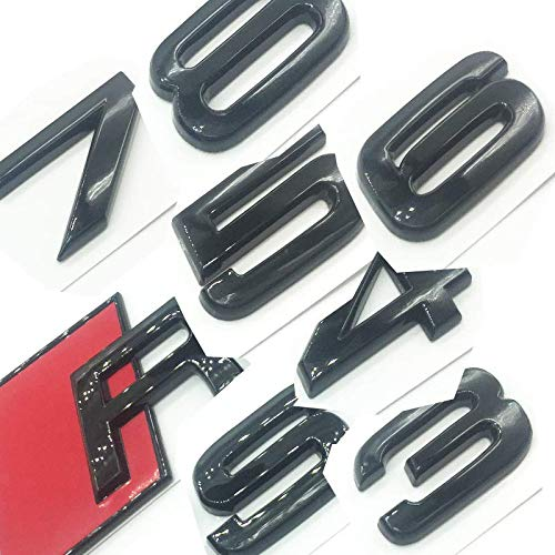 OEM ABS Nameplate compatible for Audi RS 3 4 5 6 7 8 Rs3 RS4 Rs5 Rs6 Rs7 Rs8 Gloss Black Emblem 3D Trunk Logo Badge Compact (RS3)