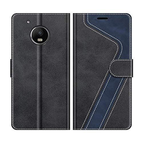 MOBESV Handyhülle für Motorola Moto G5 Plus Hülle Leder, Motorola Moto G5 Plus Klapphülle Handytasche Hülle für Motorola Moto G5 Plus Handy Hüllen, Schwarz