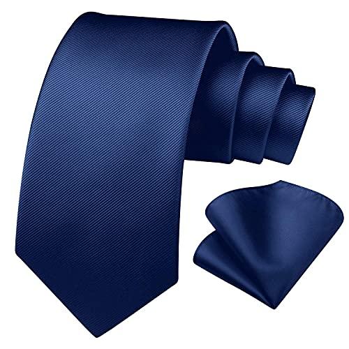 Enlision Corbata cuadrada de color azul marino y corbata de bolsillo cuadrada para hombres