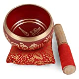 'ZAP Impex Bol de meditación tibetano Om Mani / almohadón / mao de 4pulgadas rojo