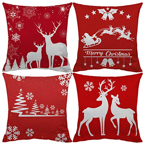 Christmas Pillow Covers 18 x 18 Inches Set of 4 - Xmas Series Cushion Cover Case Throw Pillow Zippered Square Pillowcase Home Decor