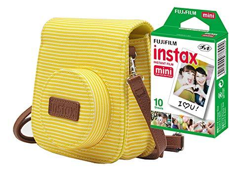 Bolsa Instax Mini9 FUJIFILM_ Amarelo Banana Listrada + Filme Instax Borda Branca com 10 Poses