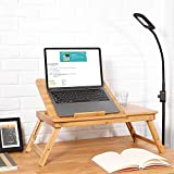 Jukkre Laptop Stand Lap Desk Table with Adjustable Leg 100% Bamboo Flower Pattern Foldable Breakfast Serving Bed Tray Natural