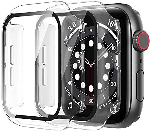 Diruite 2-Stück Hülle für Apple Watch Series 6/5/4/SE Panzerglas Schutzhülle,Hard PC R&um Bildschirmschutz Superdünne Schutz Hülle für iWatch Series 6 40mm/Series 5 40mm/Series 4 40mm