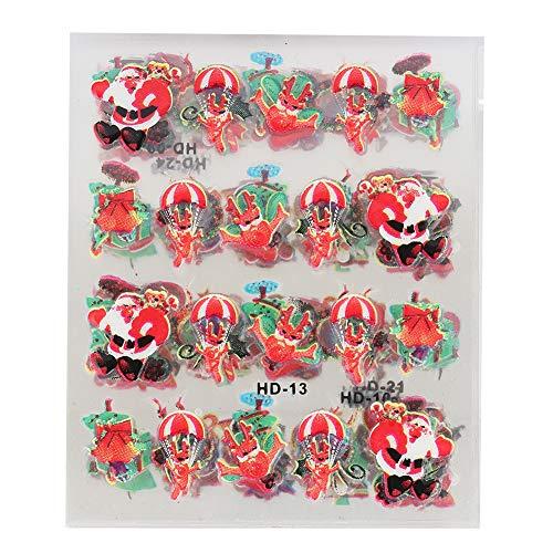 12pcs tema natalizio nail art sticker nail fai da te decalcomanie trasferimento strumenti di decorazione nail art foil trasferimento adesivi immagini di natale(Christmas Type)