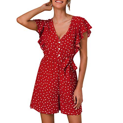Auifor Dames vrouwen dot print gestreepte ruches mouwen overall belted zomervakantie