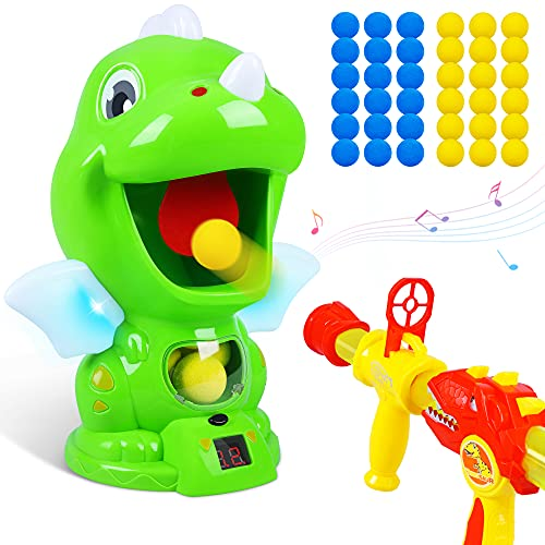 Dinosaur Toys Shooting Target Toy Gun for Kids-Air Pump Shooting Game with 36 Foam Balls,Sound and LED Score Record, Electronic Target Practice Toys,Gifts for 5 6 7 8 9 10 11 12 Years Old Boys Girls