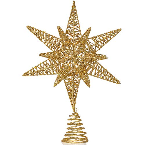 Ornativity Gold Star Tree Topper – Christmas Gold 3D Glitter Star Ornament Treetop Decoration for Large Tree