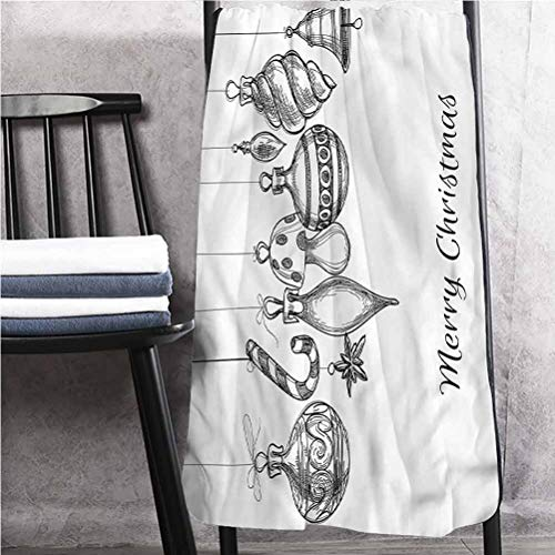 ScottDecor Christmas Lightweight Bath Towels Hotel Towels Sketchy Ornaments 30' W x 56' L
