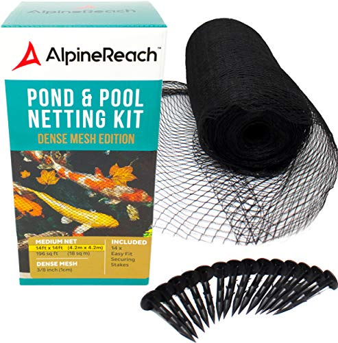AlpineReach Koi Pond Netting Kit 14 x 14 ft Black Heavy Duty Woven Fine Mesh Net Cover for Leaves – Protects Koi Fish from Blue Heron Birds, Cats & Predators – Reusable & Stakes Included