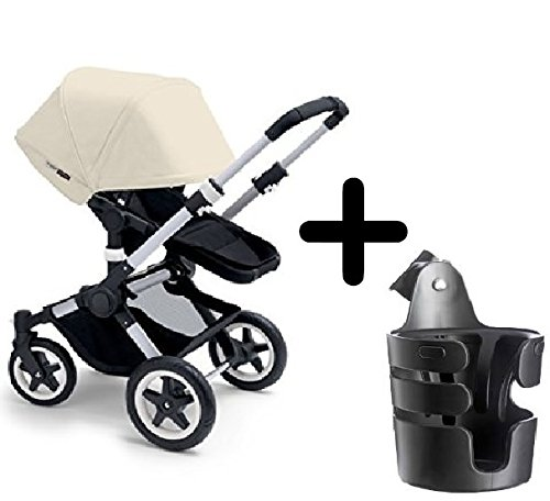 Find Bargain Bugaboo 2015 Buffalo Stroller Complete Set in Aluminum/Off-White Canvas Fabric Set + Bu...