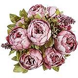 Floralsecret Artificial Silk Peony Flower Vintage Fake Bouquet Home Wedding Decor(Spring Cameo Brown)