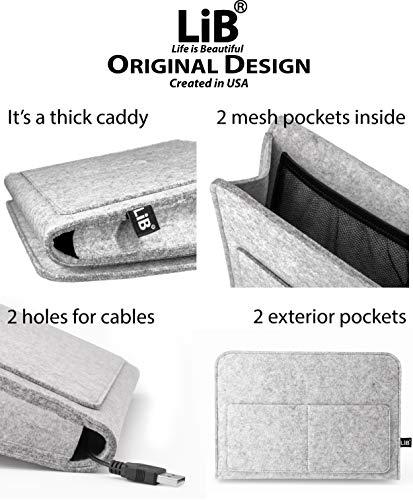 Lib Bedside Caddy, Original Design | Large Size 9.5' x 13.5' | Laptop Holder | 100% Handmade | College Room, Kids Bunk Bed, Hospital Bed | Night Hanging Storage Organizer (Light gray)