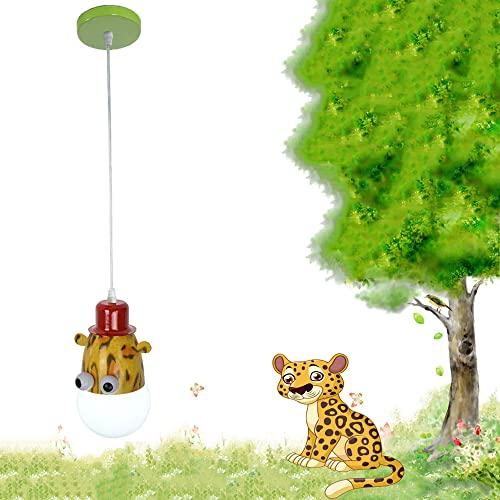 Lámpara Infantil de Techo Colgante Lámpara de techo, LVYY Animal creativo de dibujos animados Lampara colgante LED moderna Lámpara para habitación de niños E27 (leopardo)