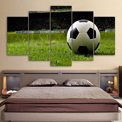 WMAPDWLH 5 Pannello Pittura HD Stampato su Tela Moderna Soggiorno Immagini 5 Pannello di Gioco del Calcio Quadro Quadro Pittura Wall Art Modulare Poster Home Decor