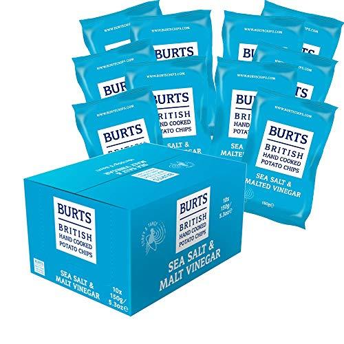 10 x Burts Sea Salt & Malted Vinegar Chips 10 x 150 g