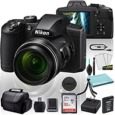 Nikon COOLPIX B600 Digital Camera (Black) (26528) USA Model + SanDisk 32GB Ultra Memory Card + Memory Card Wallet + Deluxe Soft Bag + 12 Inch Flexible Tripod + Deluxe Cleaning Set + USB Card Reader from Nikon
