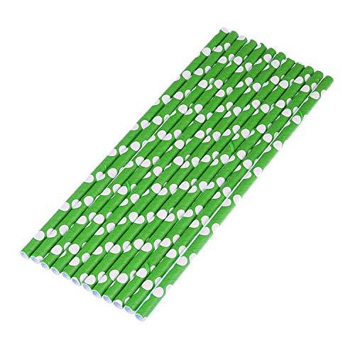takestop® CANNUCCE Pois 20 cm van papier rietje kleurrijk verjaardag party geboorte doop meisje, Set 30 pezzi, Groen