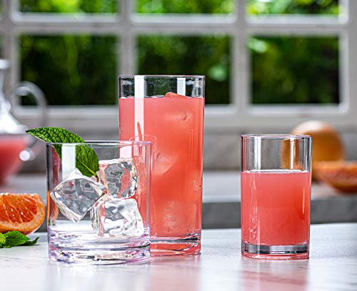 Acrylic Drinking Glasses [Set of 18] - Set Includes 6-17oz Highball Glasses, 6-13oz Rocks Glasses, 6-7 oz Juice Glasses| Heavy Base Glass Cups for Water, Juice, Beer, Wine, and Cocktails