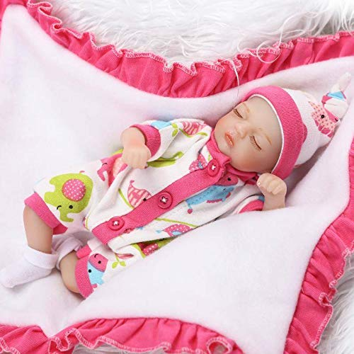 Nicery Reborn Baby Doll Soft Simulation Silicone Vinyl 8inch 20cm Cloth Body Toy for Ages 3+ Gift Cute Girl RD20C002GC