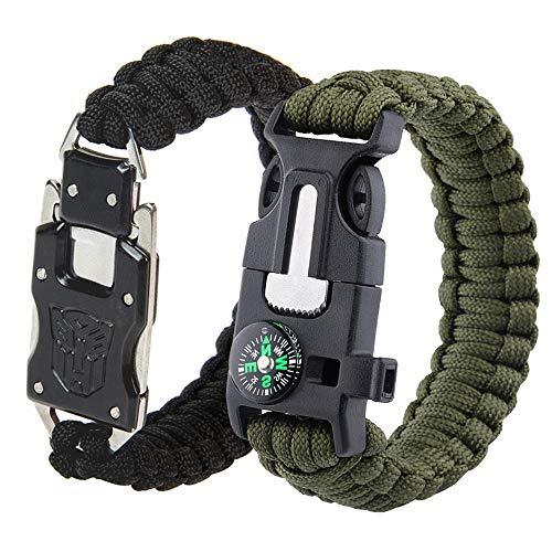 BASON Paracord Armband,Selbstverteidigungsmesser des rostfreien Stahls,mit Multitool, Feuerstein, Kompass, Signalpfeife, Messer, 2 pcs