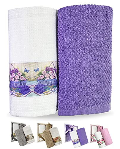 TTDECO Turkish Kitchen Towels - Set of 2 Terry Cloth and Waffle Weave Kitchen Hand Towels - Premium Turkish Cotton - Eco-Friendly and Organic Dish Towels - Oversized Dishcloths for Kitchen - Purple