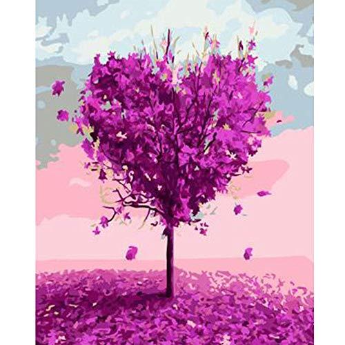 Digital DIY ?lgem?lde nach Zahlen Blume Liebe Baum Wandkunst Leinwand Bild gerahmte Pinsel Zeichnung F?rbung Farbe nach Zahlen 40x50cm