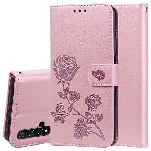 TANYO Hülle Geeignet für Huawei Nova 5T, Wallet Tasche Hülle, Retro Blumen Muster Design, Premium PU Leder Tasche Flip Wallet Hülle, mit Kartenfächern & Standfunktion. Rosa