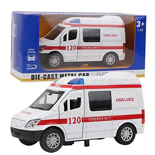 Mini Juguete de Ambulancia, Juguete de Ambulancia de Rescate para Hospital, 1:32, aleación de estimulación, Ambulancia, Coche, Modelo de Sonido y luz, vehículo de Juguete(Rojo)