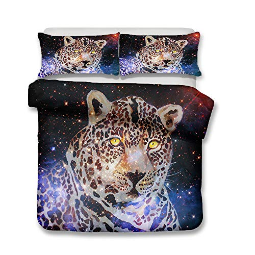 Juego de Cama Negro Gris Microfibra 3D Leopard Funda de Edredón Hombres Niños Adolescentes Varones Leopardo Galaxia Dormitorio Funda Nórdica y Funda de Almohada (Negro 5,Cama 150 cm,220x240 cm)