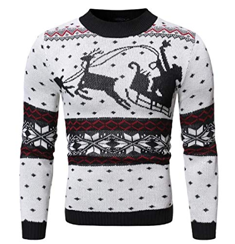 Jotebriyo Men Long Sleeve Fawn Print Christmas Knit Casual Pullover Sweater White S