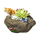 Small Succulent Pots, 1PCS Faux Rock Style Flower Pot-Cute Cat and Butterfly Animal Succulent Planter with Drainage Hole Resin Cactus Planter Herbs Bonsai Plant Container Holder Home Decor
