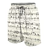 Popsastaresa De Los Hombres Casual Pantalones Cortos,Partitura de Musica,Secado Rápido Traje de Baño Playa Ropa de Deporte con Forro de Malla