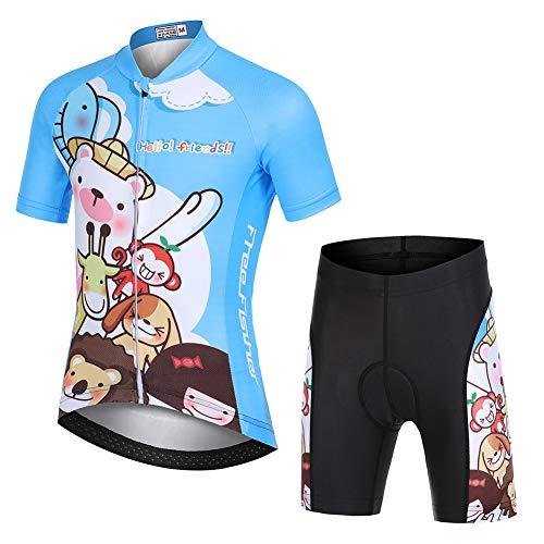 LSHEL Kinder Jungen Radtrikot Set, Mädchen Radbekleidung Anzüge, Quick Dry Radsportanzug, Fahrradtrikot Kurzarm und 3D Sitzpolster Radhose, Tier, 116(Herstellergröße: M)