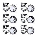 Carnavalife Pack de 6 Gafas de Disfraz para Cumpleaños, Con Diseño de Número 50. Perfectas para Aniversario, Cumpleaños y Fiestas de Disfraces.