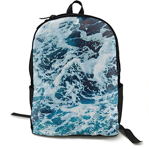Bankzeri Turquoise Blue Ocean Waves Backpack Unisex School Daily Backpack Lightweight Casual Travel Outdoor Camping Daypack