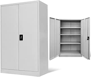 Tidyard Floor Cabinet Storage with 2 Doors & 3 Adjustable Shelves, 3-Point Locking System Office Decor Steel Gray 35.4