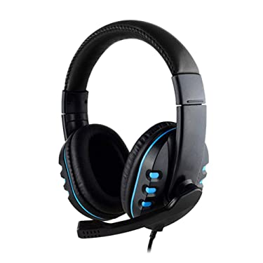 HANYF Headset Gaming Headset, 3.5Mm Wired Headset, Gaming Headset with Microphone, Low Bass Stereo, Suitable for PS4 and A PC (Blue)