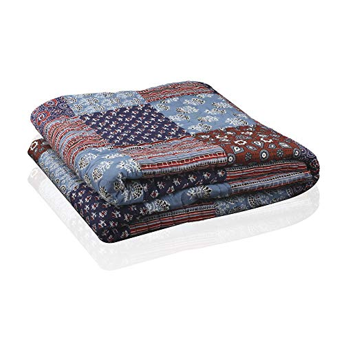 RAJRANG BRINGING RAJASTHAN TO YOU Patchwork Country Rustic Decorative Throw Blanket Multi Color Super Soft Cotton Warm Indian Vintage Quilt for Sofa and Couch 50 x 60 Inches