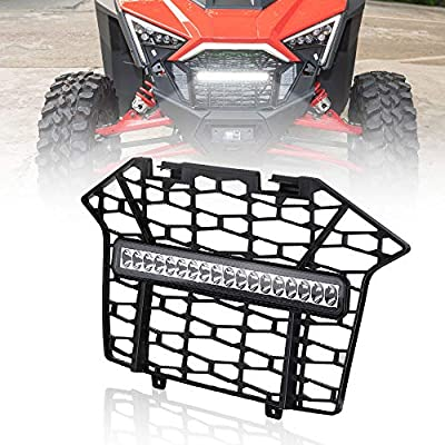 RZR PRO XP Grille, KEMIMOTO PP Front Mesh Grill with LED Light Bar Compatible with 2020 Polaris RZR PRO XP - Black
