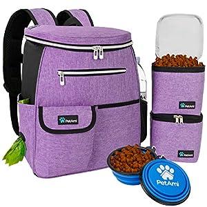 PetAmi Dog Travel Bag Backpack | Backpack Organizer with Poop Bag Dispenser, Multi Pocket, Food Container Bag, Collapsible Bowl | Weekend Pet Travel Set for Hiking Overnight Camping Road Trip (Purple)
