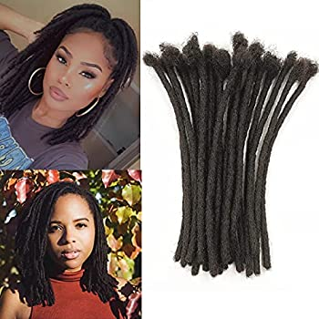 Vlliyava 100% Real Human Hair Dreadlock Extensions 6 Inches 30 Locs 0.6cm Width Handmade Permanent Dreads Extensions For Women Men Can Be Dyed ,Curled and Bleached  6 Inch,Natural Black  …