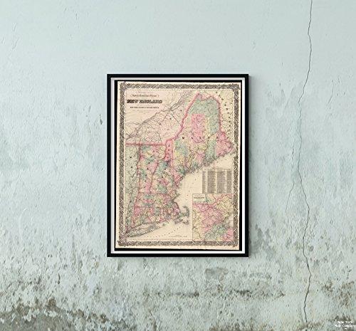 New York Karte Company (TM) 1878Karte, New England G. Woolworth Colton Railroad, Township (& Distance of New England: mit adjac|Historic Antik Vintage Reprint|Ready Zum Rahmen