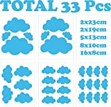33 Wolken Wandsticker Kinderzimmer Mädchen Jungen - Wandtattoo - Wandaufkleber Selbstklebend Weiß (Babyblau)